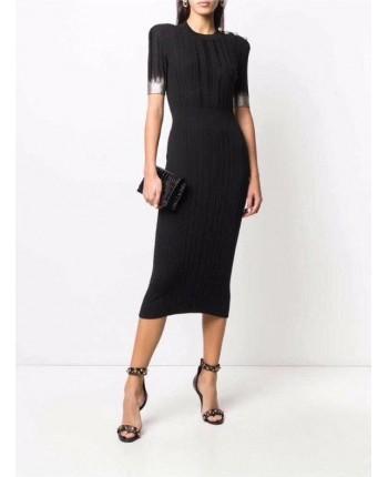 Черное вязаное платье 18654
