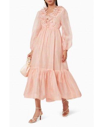Льняное платье с оборками 110222