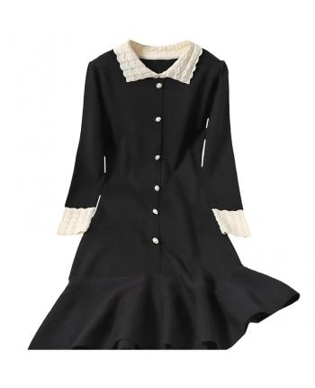 Черное платье с вязаным воротником 19939