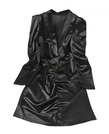 Атласное платье с декольте 19982