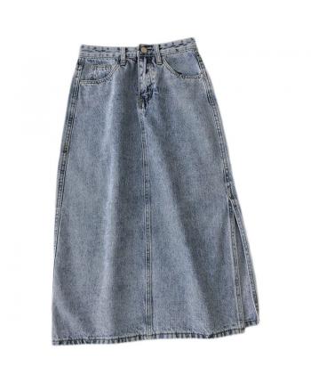Джинсовая юбка с разрезом 110022