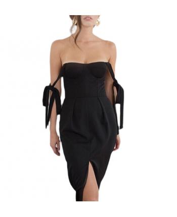 Платье-бюстье с разрезом 110040