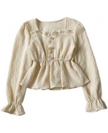 Жатая блуза с баской 110066