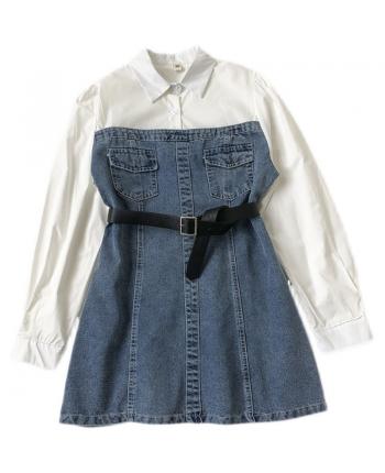 Джинсовое платье-рубашка 110057