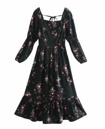 Черное цветочное платье 110044