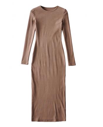 Силуэтное платье в рубчик 110045