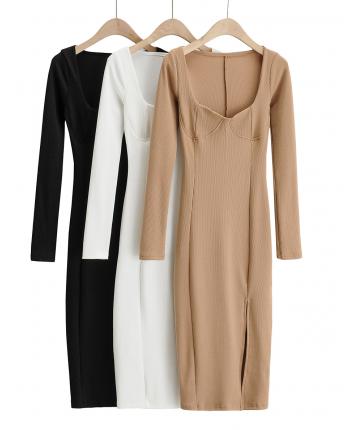 Силуэтное платье с вырезом 110052