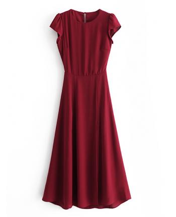 Бордовое платье с разрезом 110109