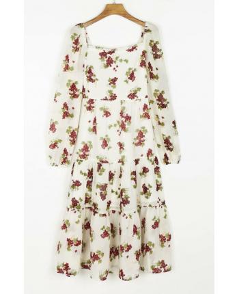 Белое цветочное платье 110063