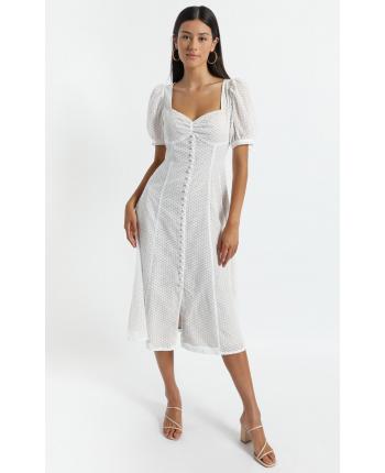 Белое платье с пуговицами 110313