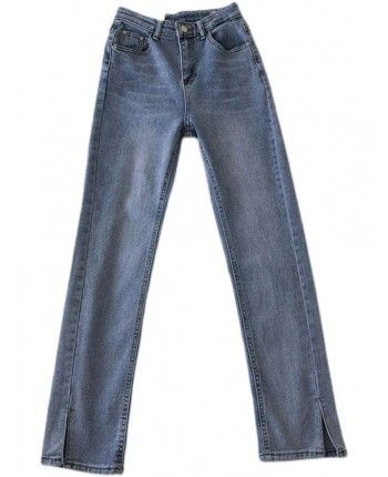 Голубые джинсы с разрезом 110062