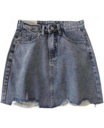 Рваная джинсовая юбка 110091
