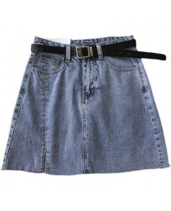 Джинсовая юбка с поясом 110073