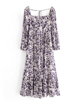 Шифоновое платье с узором 110076