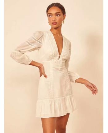 Белое платье с кружевом 110136