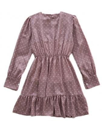 Шифоновое платье в горошек 110068