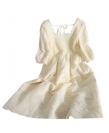 Хлопковое платье с кружевом 110151