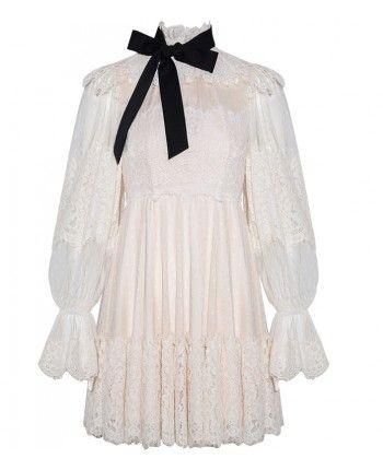 Кружевное платье с бантом 110112