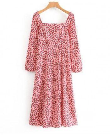 Красное платье с разрезом 110314
