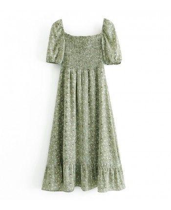 Зелена сукня з розрізом 110218