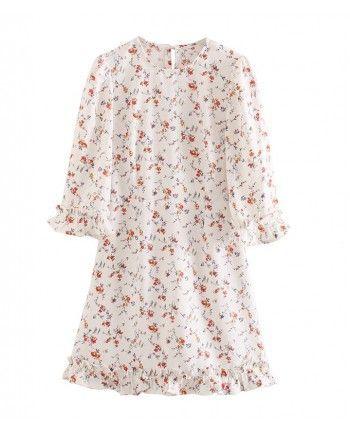 Белое цветочное платье 110221