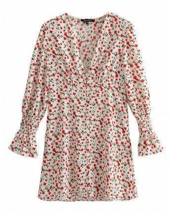 Цветочное платье с декольте 110206