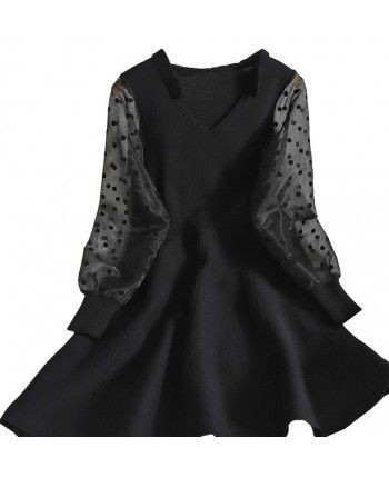 Платье с прозрачными рукавами 110201