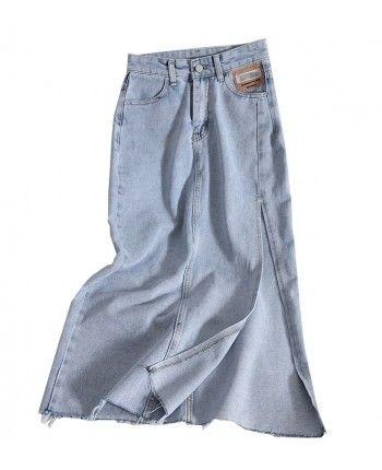 Джинсовая юбка с разрезом 110250