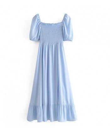 Голубое платье с разрезом 110302
