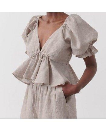 Хлопковая блуза с баской 110268