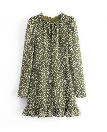 Зеленое платье в горошек 110273