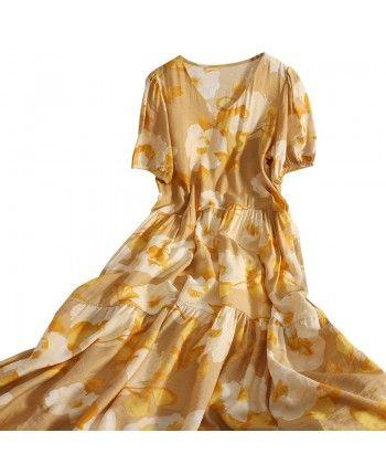 Цветочное платье с V-вырезом 110233