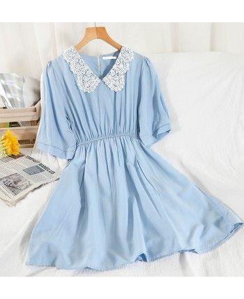 Хлопковое платье с воротником 110241