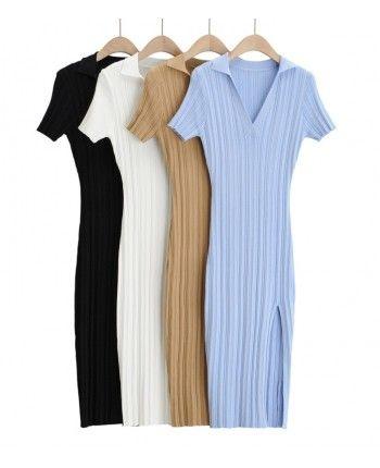 Трикотажное платье поло 110290