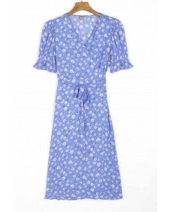 Синя сукня на запах 110346