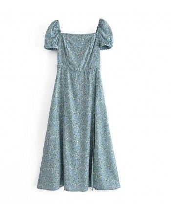 Голубое платье в цветочек 110310