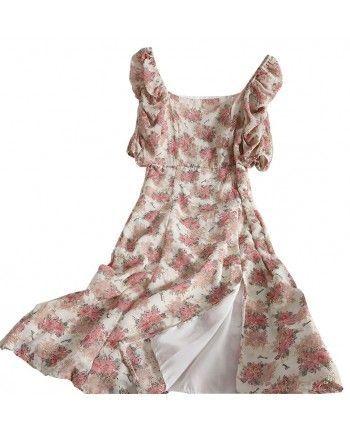 Цветочное платье с разрезом 110308
