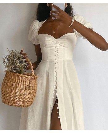 Біла сукня на гудзиках 110323