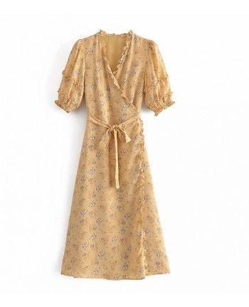Гірчична сукня на запах 110377