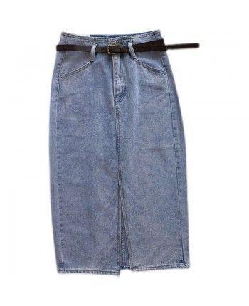Джинсовая юбка с разрезом 110392