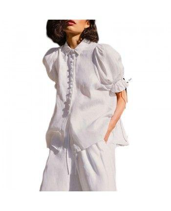 Льняной костюм с брюками 110430
