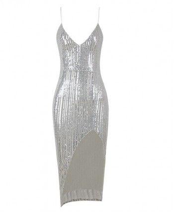 Блискуча сукня з розрізом 110464