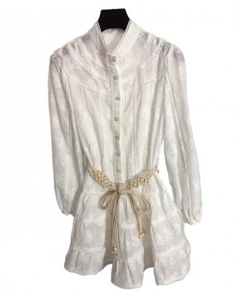 Кружевное платье с поясом 19671