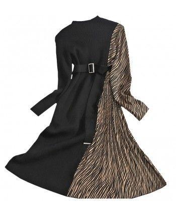 Комбінована трикотажна сукня 110485