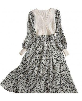 Платье с трикотажным верхом 110493