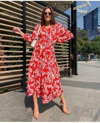 Червона сукня з квітами 110484
