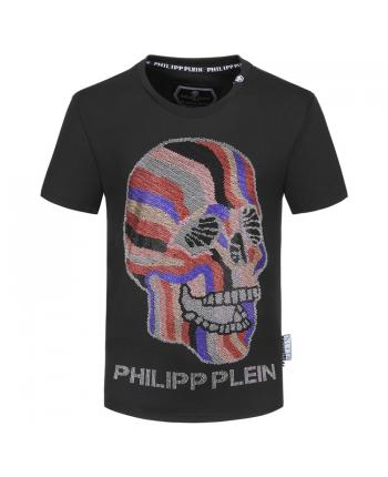 Черная футболка с полосатым черепом 19291