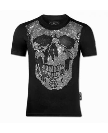 Черная футболка с черепом 19308