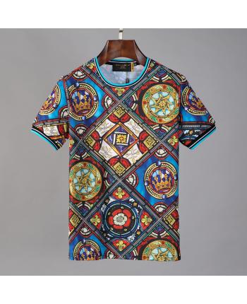 Цветастая коттоновая футболка 18522