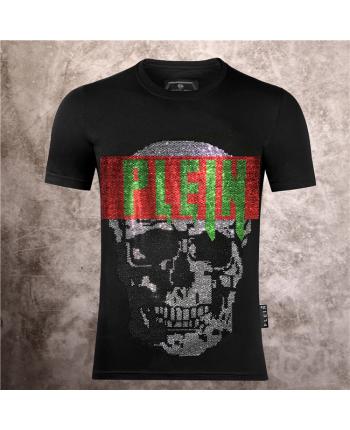 Черная футболка с цветной вышивкой 18516
